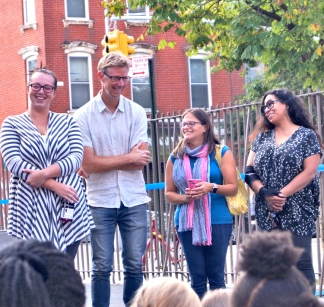 PS 34 playground ribbon cutting PTA: center (l to r) PTA Co-Presidents James Sheehan and Erica Rahevy smile at being acknowledged by Superintendent Alicja Winnicki