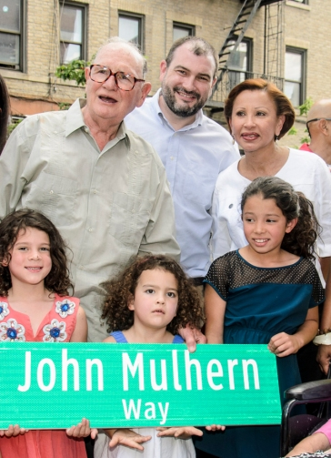 Congresswoman Nydia Velázquez with John Mulhern at the John Mulhern Street naming ceremony