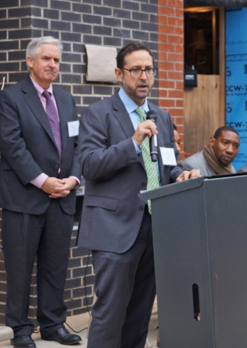 Sam Marks NABE 2015 event: (l to r) At 7 Stagg Street unveiling, Michael Rochford, Exec. Dir. St. Nicks Alliance: Sam Marks, Exec. Dir. LISC NYC; and Norman Williams, former Asst. Dir. of Housing for St. Nicks Alliance