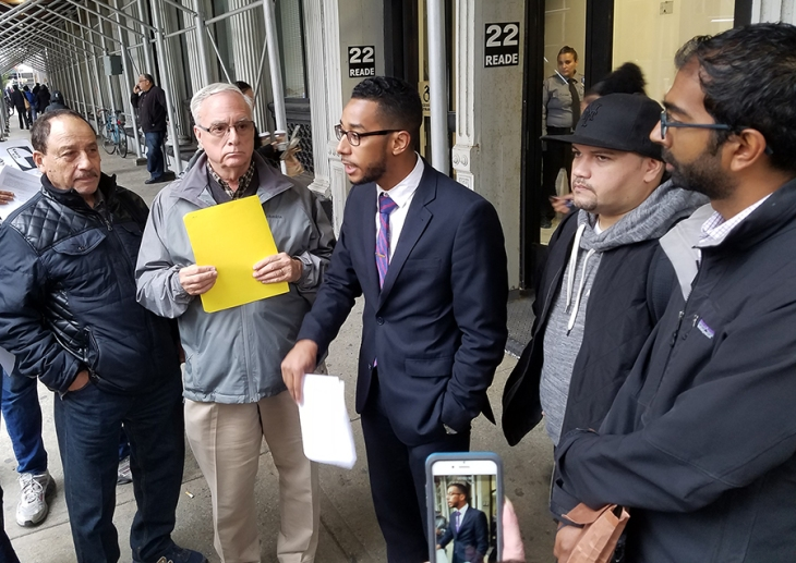 Councilman Antonio Reynoso (center) thanks and supports community leaders and residents waiting to enter the Department of City Planning (DCP) hearing on the rezoning the Rabsky-Pfizer lots. Also pictured (l to r) Ray Narvaez, Vice Chairman Southside United HDFC-Los Sures; David Dobosz, St. Nicks Alliance Board Member; Juan Ramos, Chuches United for Fair Housing; and Shekar Krishnan, Brooklyn Legal Services Corp. A