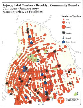 Brooklyn CB1 Pedestrian Fatality Crash Map
