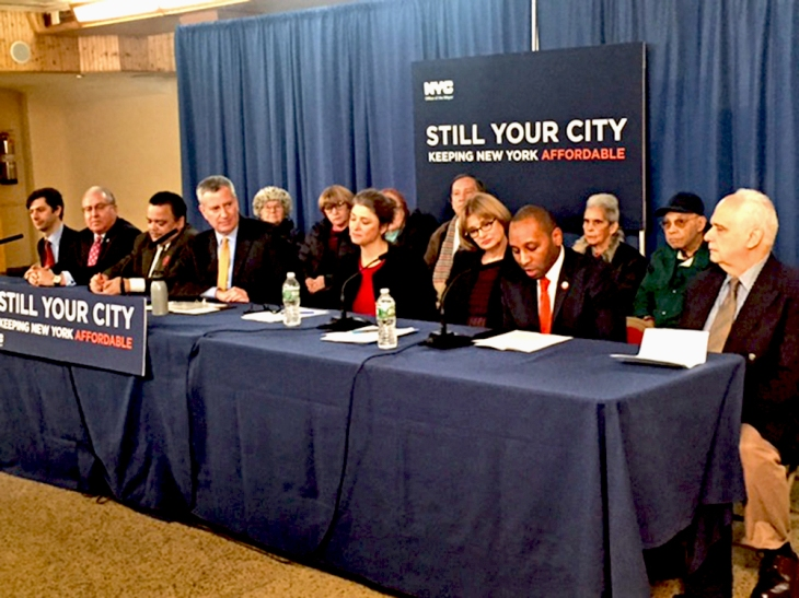 Mayor de Blasio (center) speaks on 2016's record number of affordable housing financing  at  Bedford Avenue's Monsignor Alexius Jarka Hall. Also in attendance: Council Member Stephen Levin (far left), People's Firehouse Exec. Dir. Daniel Rivera (3rd from left), and Assemblyman Joseph Lentol (far right).
