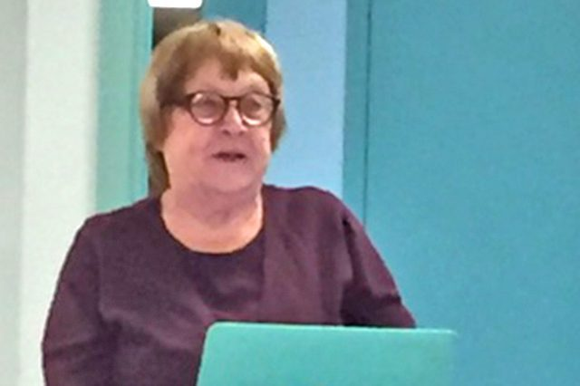 Jan Peterson at CB1's January meeting