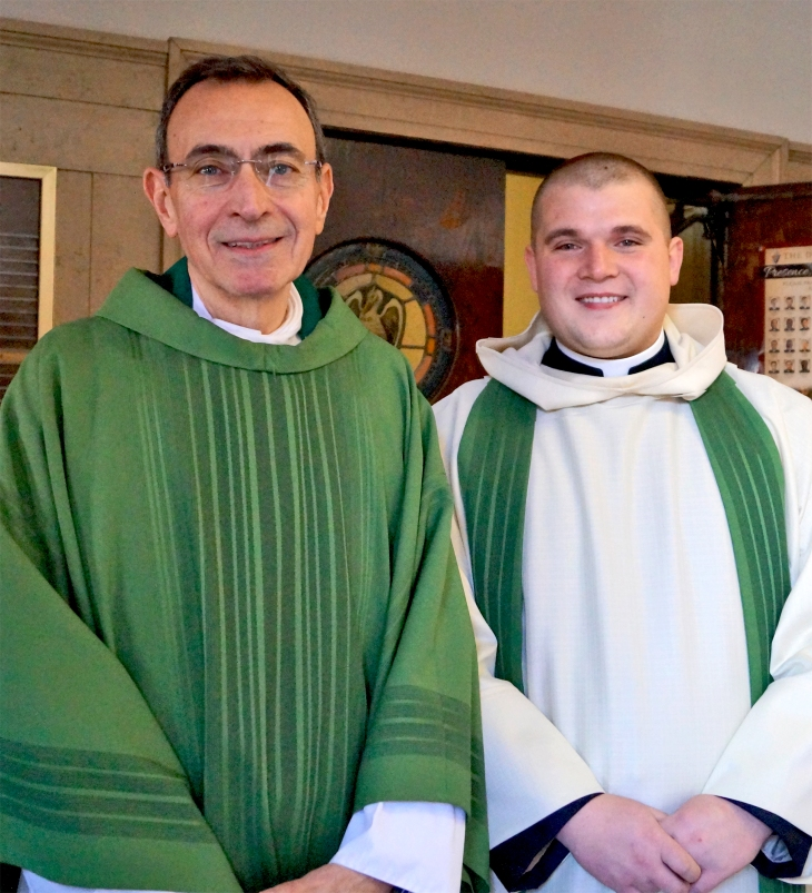 (l to r) Monsignor Joseph Calise, Pastor of Our Lady of Mount Carmel, and Father Lukasz Lech before their entrance procession to the Mass of Thanksgiving for Msgr. Calise.