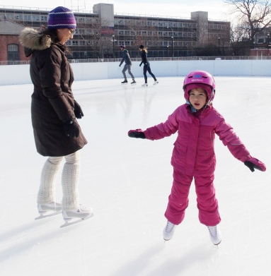 McCarren Rink Dec 2014 girl in pink