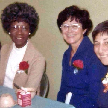 Dining at 211 Ainslie Street Congresswoman Shirley Chisholm with founders Margaret LaPolla and Tillie Tarantino